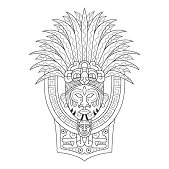 Zentangleスタイルの部族の首長の手描き