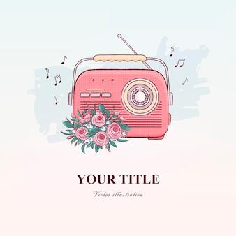 Рисованной старинного радио и цветов