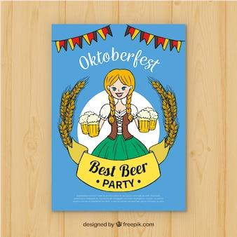 Hand drawn oktobefest poster with woman carrying beers