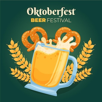 Hand drawn oktoberfest background with beer and pretzels