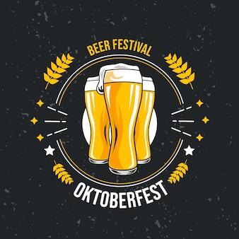 Hand drawn oktoberfest background with beer