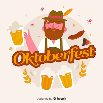 Hand drawn oktoberfest background with character