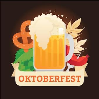 Hand drawn oktoberfest background with pint and pretzel