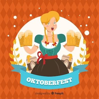 Hand drawn oktoberfest background with a woman
