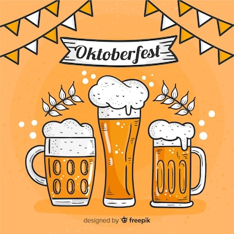 Hand drawn oktoberfest background