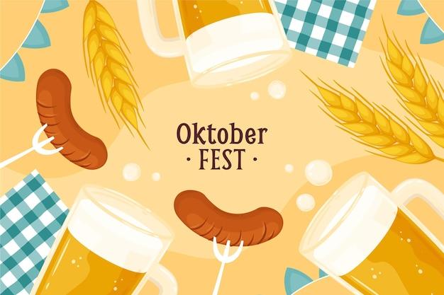 Sfondo oktoberfest disegnato a mano hand Vettore gratuito