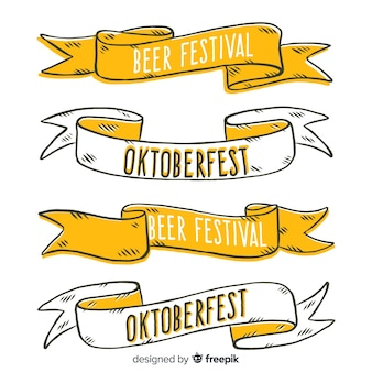 Hand drawn oktoberfest banner collection