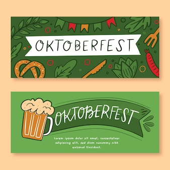 Set di banner più oktoberfest disegnati a mano