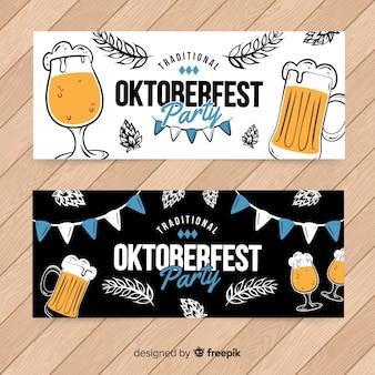 Modello di banner più oktoberfest disegnati a mano