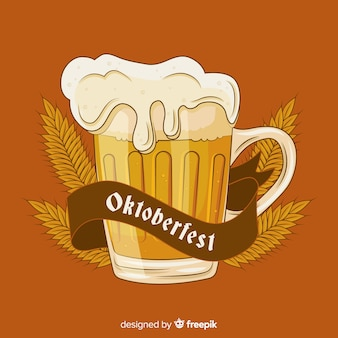 Hand drawn oktoberfest beer draft with wheat