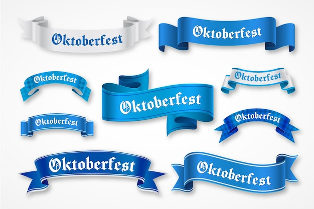 Hand drawn oktoberfest blue ribbons