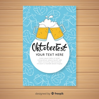 Hand drawn oktoberfest cover template