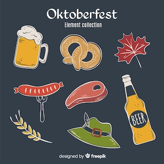 Hand drawn oktoberfest element collection on black background