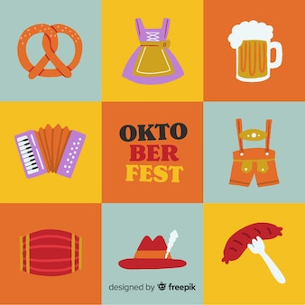 Hand drawn oktoberfest element collection