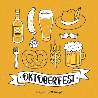 Hand drawn oktoberfest elements collection
