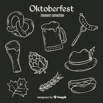 Hand drawn oktoberfest elements