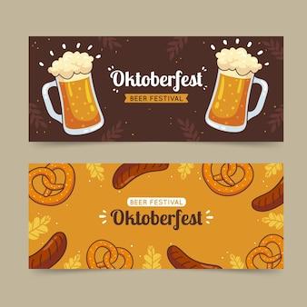 Hand drawn oktoberfest horizontal banners set