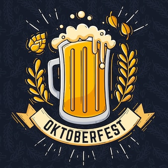 Hand drawn oktoberfest illustration