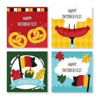 Hand drawn oktoberfest instagram posts collection