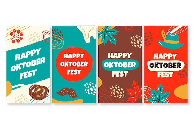 Hand drawn oktoberfest instagram stories collection