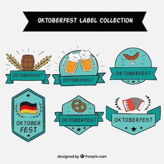 Hand drawn oktoberfest label set