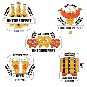 Hand drawn oktoberfest labels collection