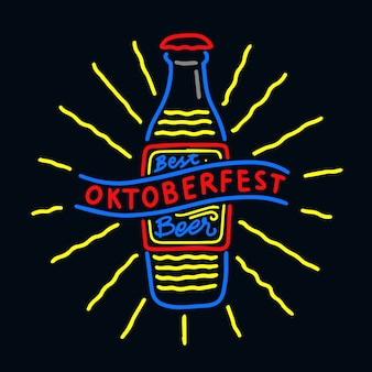 Hand drawn oktoberfest neon style illustration