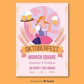 Hand drawn oktoberfest paper advertising