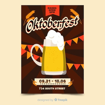 Hand drawn oktoberfest poster template