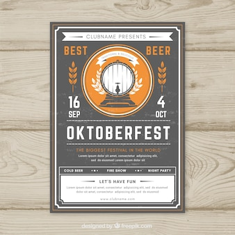 Hand drawn oktoberfest poster with vintage style