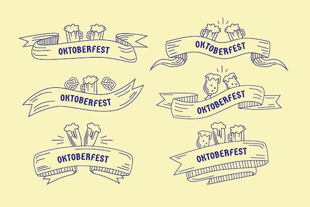 Collezione di nastri oktoberfest disegnati a mano