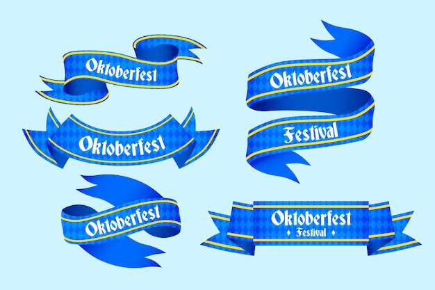 Hand drawn oktoberfest ribbons collection