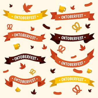 Hand drawn oktoberfest ribbons set