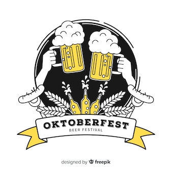 Hand drawn oktoberfest toast with beers