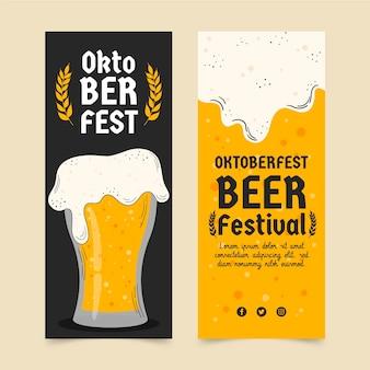Hand drawn oktoberfest vertical banners set