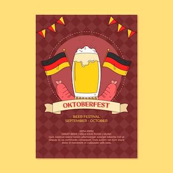 Hand drawn oktoberfest vertical flyer template