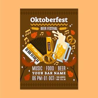 Hand drawn oktoberfest vertical poster template Free Vector