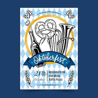 Modello di poster verticale oktoberfest disegnato a mano