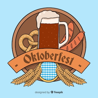 Hand drawn oktoberfest with beer and pretzel