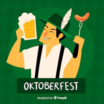 Hand drawn oktoberfest with happy bavarian man