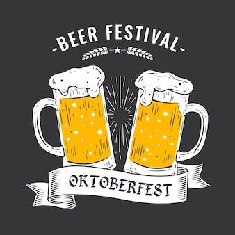 Oktoberfest disegnato a mano con pinte