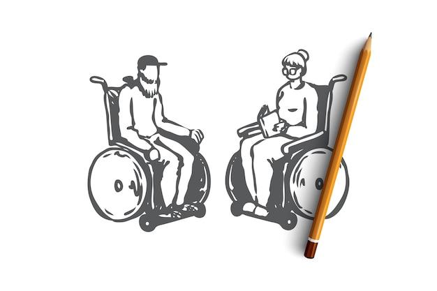 車椅子の概念スケッチのナーシングホームで手描きの老夫婦