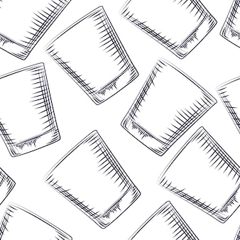 손으로 그린된 구식된 유리 원활한 패턴