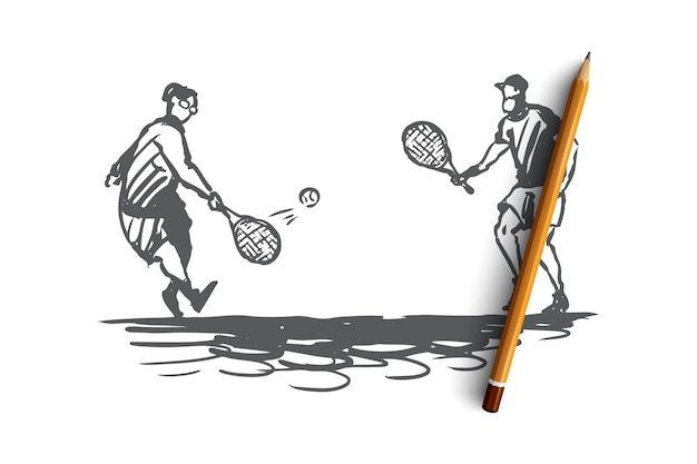 Hand drawn old people man and woman play tennis concept sketch