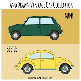 Hand drawn old vehicles