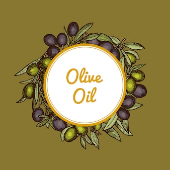Hand drawn olive branches under circle with place for text