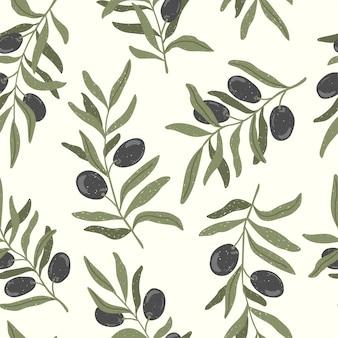手描きのオリーブの枝のシームレスなパターン。