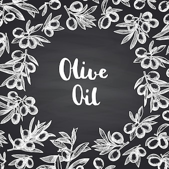 Hand drawn olive branches with circle space in center for text on black chalkboard