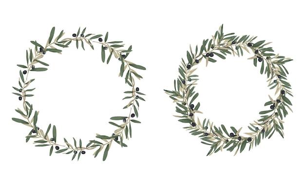 グリーティングカードやウェディングカードの装飾のための手描きのオリーブの葉のフレーム