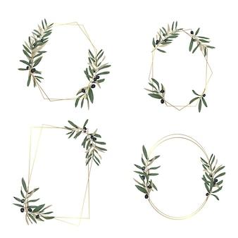 Hand drawn olive leaf frame for greeting card or wedding card decoration